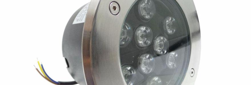 spot LED extérieur de forme ronde, encastrable au sol