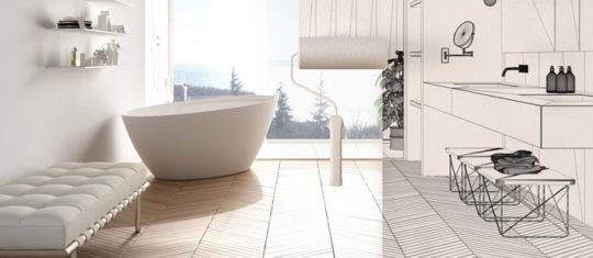 Croquis d'une salle de bain qui va être rénovée